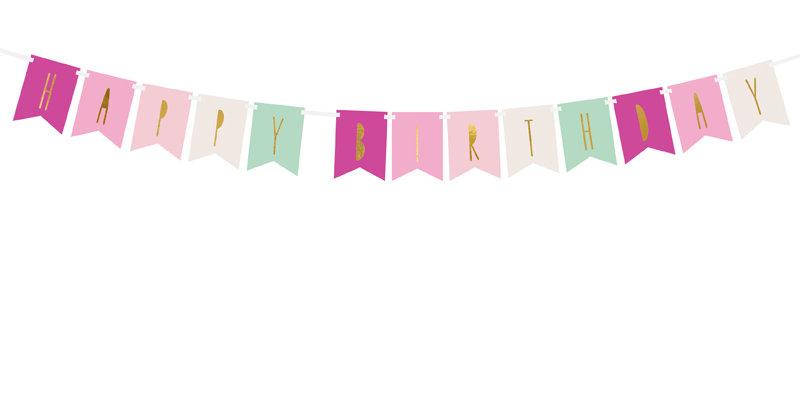 Banner Happy Birthday, mix, 11.5 x 140 cm