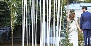 White Ribbon Hanging Wedding Backdrop
