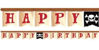Pirate Treasure 'Happy Birthday' Banner - 2.6m (each)
