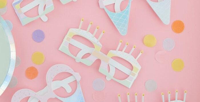 BIRTHDAY FUN GLASSES - PASTEL PARTY  Code:PS-504    > Fun iridescent foiled gla
