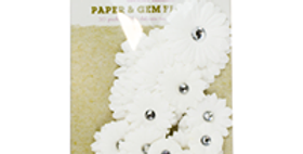 Paper and Gem Flowers - 30 Pack  white, yellow pink