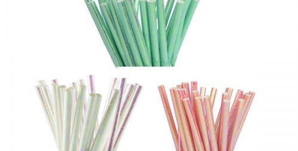 paper 20pk mint , coral, iredescent straws