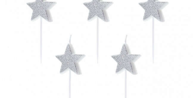 Birthday candles Stars in silver glittery colour, height approx. 3.5 cm. 5pk