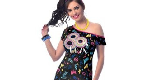80s Girl - Adult Costume size 8-10.12-14 includes dress and band