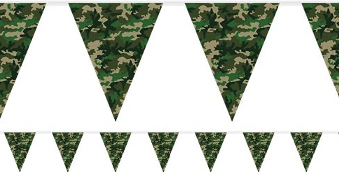 Camouflage Print Plastic Bunting - 3.7m (Each)
