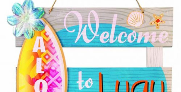 Luau Paper Aloha Welcome Sign