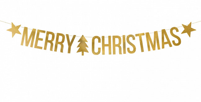 Banner Merry Christmas, mirror gold, do it yourself, set contains letters and ap