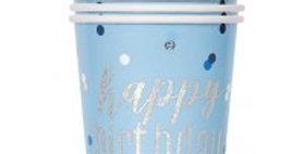 Blue Birthday Glitz Cups - 266ml (8pk)