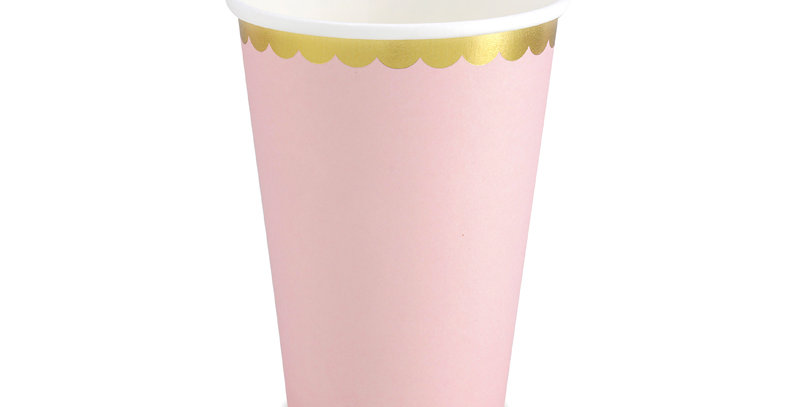Paper Cups, light pink with gold metallic edges, for cold drinks only, hold up t