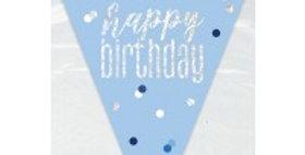 Blue Birthday Glitz Prismatic Bunting - 2.75m  (each)Blue Birthday Glitz Prismat