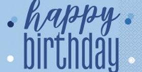 Blue Birthday Glitz Napkins - 33cm (16pk)