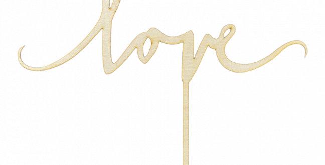 Wooden topper Love, 16cm
