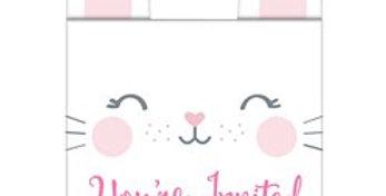 Birthday Bunny Invitations with Attachments (8pk)