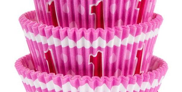 "1st birthday cupcake cases  Pack of 75  Size: 5cm (2"") diameter."