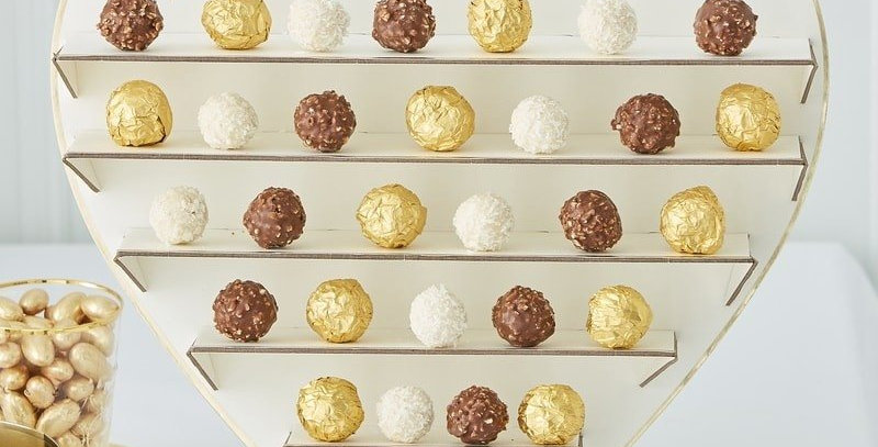 TREAT YOURSELF CHOCOLATE TREAT STAND - GOLD WEDDING