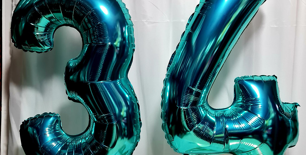 "2 Teal 40"" number foil balloon including helium"