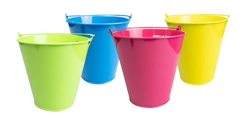 Round Tin Bucket Planter 16.5cm diameter top