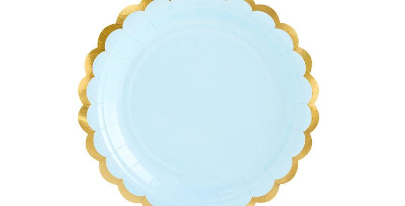 Paper plates, light blue with gold inscription, diameter approx. 18 cm 6pk 3