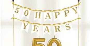 50th Gold Sparkling Wedding Anniversary Cake Decoration Kit (3pk)