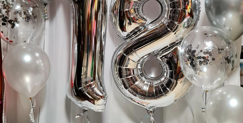 """2 silver foil number balloons 34"""" + 2 bunches of 3 latex  balloons including hel"""