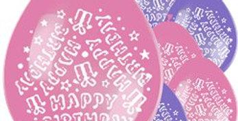Pink / blue / multi Happy Birthday Balloons - 11'' Latex (10pk)