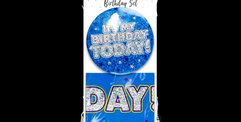 Holographic Birthday Set - 2 Piece blue/pink