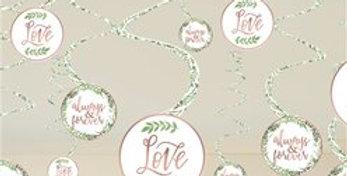 Love & Leaves Hanging Decorations - Hanging Swirls (12pk)