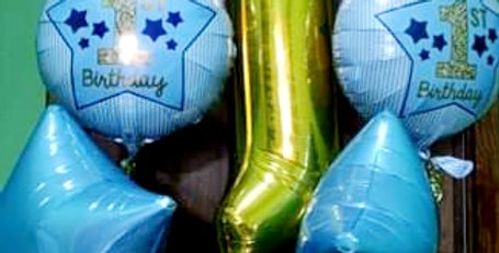 """No 1 foil number 34"""" with 4 foil balloons 18"""" in 2 bunches. Helium included."""