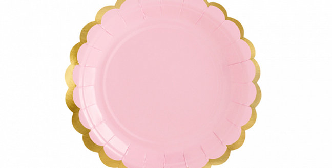 Paper Plates, light pink with gold metallic edges, diameter approx. 18 cm (7'').