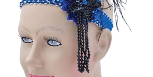 Deluxe Flapper Headband Blue Sequin Band