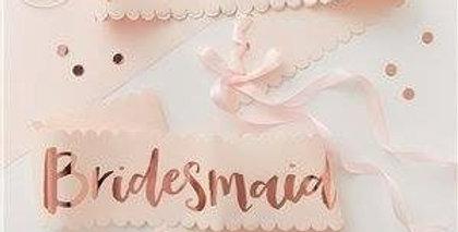 Bridesmaid Rose Gold Foiled Paper Sashes (2pk)
