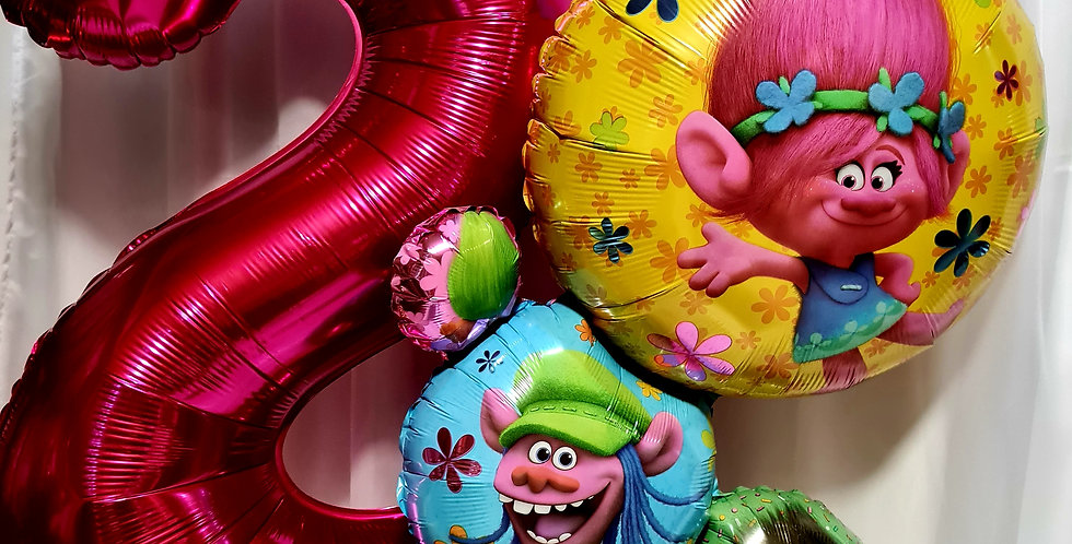 """1 foil number balloon 34"""" with Trolls Supershape foil balloon including helium"""