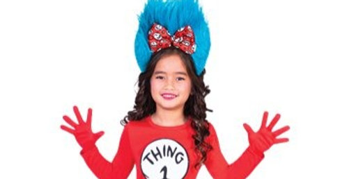 Dr. Seuss Thing One & Two Dress - Child Costume 8-10 , 10-12 includes dres