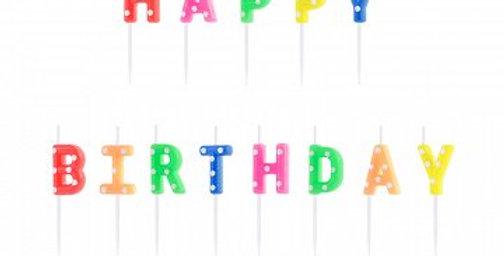 Birthday candles Happy Birthday, mix, 2.5cm