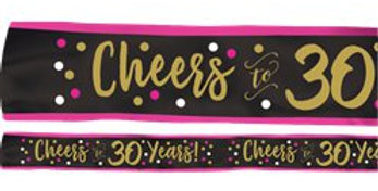 30th Pink & Gold Milestone Sash (each)