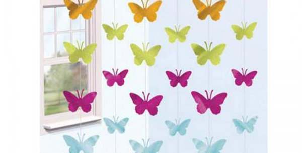 6 single decorative foil butterfly strings
