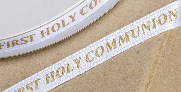 1st Holy Communion Ribbon 6mm x 25M White Gold