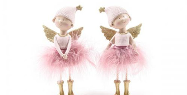Angel Ballerina Ceramic pink 20cm with feathers