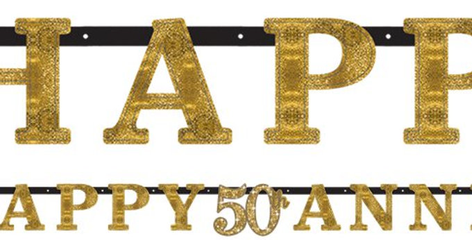 50th Gold Sparkling Wedding Anniversary Letter Banner (each)