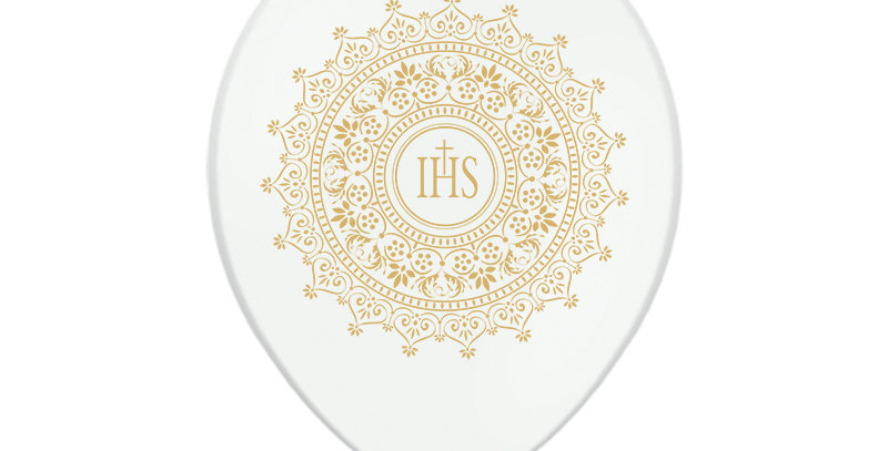 Strong Balloons IHS, Metallic Pure White with gold, double-sided print, diameter
