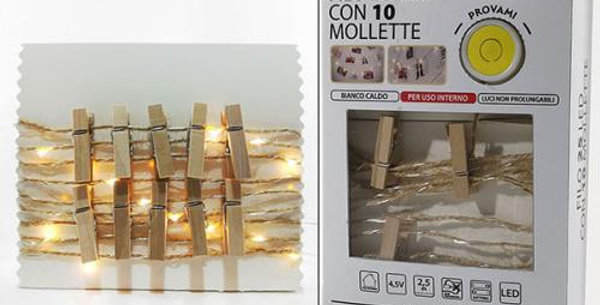 Metal wire with 10 pegs& 25 LED ice white