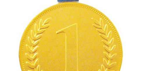 Gold Chocolate No. 1 Medal with ribbon (each