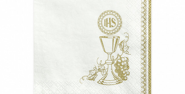 3-layer napkins Chalice, white with gold printing, size 33x33 centimeters.