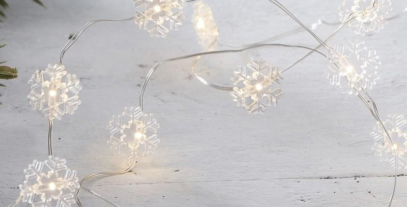 SNOWFLAKE LED STRING LIGHTS - RUSTIC CHRISTMAS  3m long