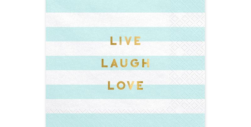 Napkins Yummy - Live Laugh Love, light blue, 33x33cm 20pk