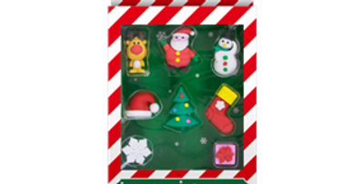 8pk Christmas Novelty Erasers