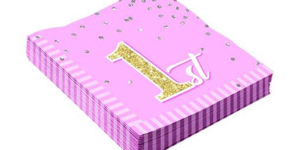 Birthday (1st) Girl Napkin  16pk