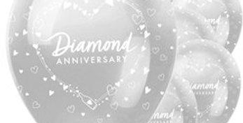 "60th Diamond Wedding Anniversary Balloons - 12"" Latex (6pk)"