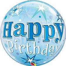 "'Happy Birthday' Blue Sparkle Bubble Balloon - 22"" (each)"