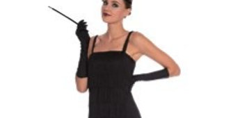 Black Flapper - Adult Costume (each) Includes Dress, Headpiece and Gloves size 8